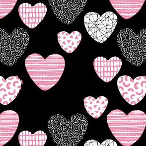 Big love geometric hearts valentine and wedding theme for romantic lovers black pink