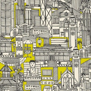 Hong Kong toile de jouy chartreuse