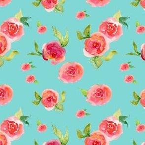 Red Roses Aqua - Floral Print