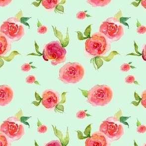 Red Roses Mint - Floral Print