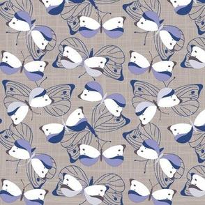 All Aflutter - Indigo on Grey Linen Texture
