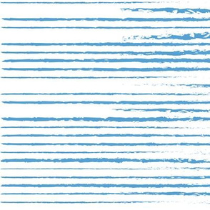 Carolina Blue and White Stripes Distressed