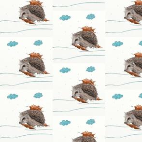 Cute Hedgehog Hiding From Snow