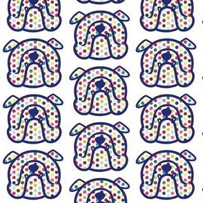 English Bulldog in fun polka dots