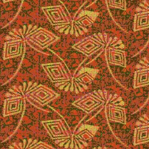 Stylized Ikat Butterfly - salmon green, yellow