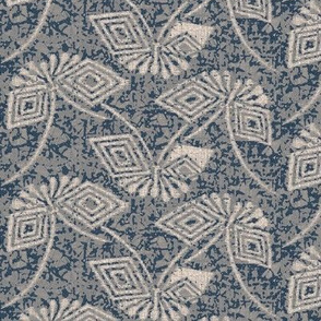 Stylized Ikat Butterfly- blue, grey