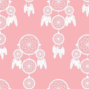 Dreamy dreamcatcher indian boho gypsy summer feathers design pastel pink girls