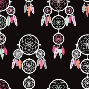 Dreamy dreamcatcher indian boho gypsy summer feathers design pastel black white and colorful green and pink