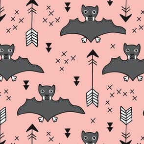 Cool bats flying dogs illustration design with geometric triangles and arrows for halloween and cool fashion pink for girls