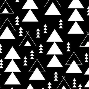 geometric teepee woodland tree abstract triangle forest in black and white gender neutral