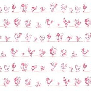 Bird doodles / pink and white