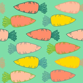 Dream Hare - carrots on teal
