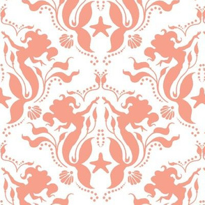 Mermaid Damask Coral-White