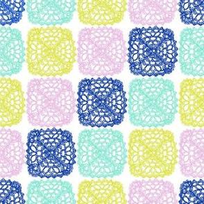 Granny Squares - Blue, Green, Lilac