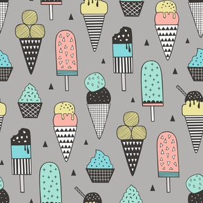 Ice Cream Geometric Triangles on Grey
