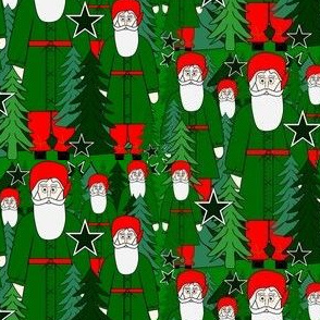 Woodland Fabric Santa, Trees & Stars #2