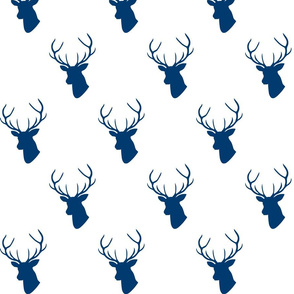 Navy Deer on White
