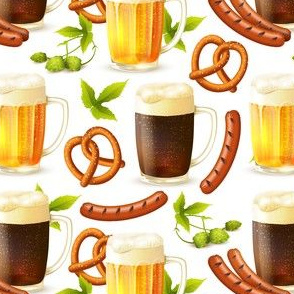 Octoberfest Beer, Bratz, Hops and Pretzles