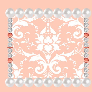 Southern Belle Pearl & Rhinestone Damask - Coral Pillow