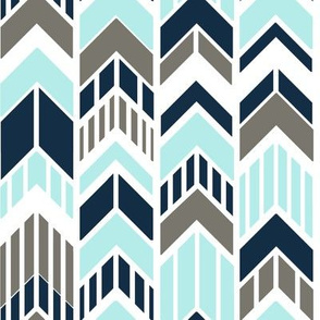 Chevron Arrows Gray Navy Sky Blue Stripes
