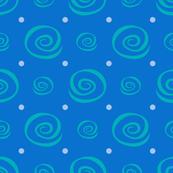 Vanilla Cupcake Blue Swirl