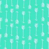 Mint Arrows Geometric Pattern White