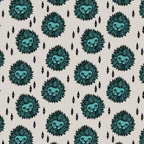 lion head // light grey tiffany blue small