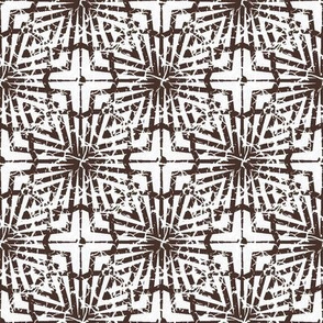 Crackled Abstract Geometric in Brown and White