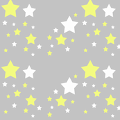 Celestial Yellow and White Stars on Grey Gray