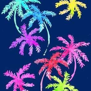 palms in rainbow dark blue
