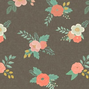 Sweet Floral in Warm Gray Linen