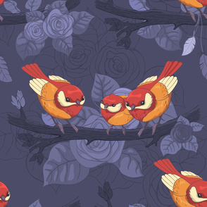 Bright birds, leaves and roses