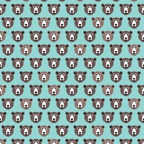 Cute blue retro scandinavian style grizzly winter bear illustration pattern XS