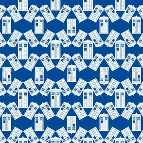 Police Box Scatter in White and Blue