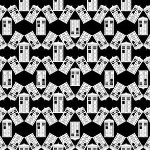 Police Box Scatter in Black and White