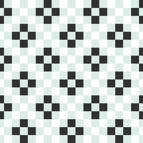 Quilt Cloth - Modern Granny Square Aqua + Black