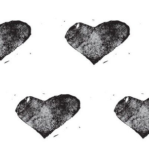 heart stamped - black on white