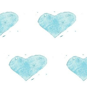 heart stamped - blue on white