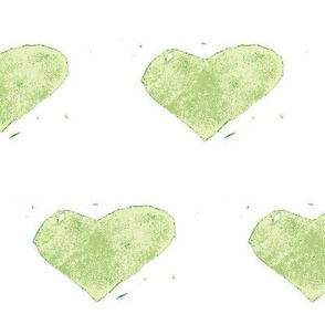 heart stamped - green on white