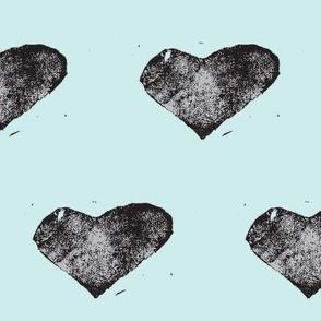 heart stamped - black on blue