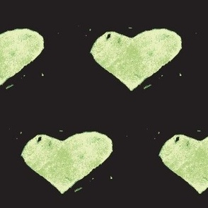 heart stamped - green on black