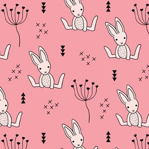 Adorable little baby bunny geometric scandinavian style rabbit for kids pink