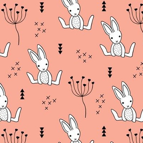 Adorable little baby bunny geometric scandinavian style rabbit for kids soft coral