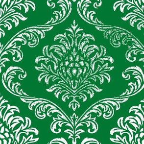 timeless brocade  emerald /white