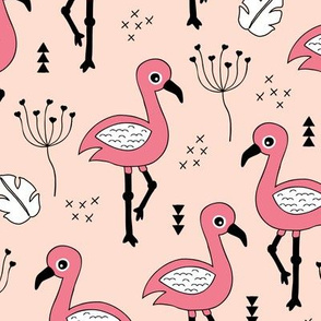 Cute little tropical flamingo birds for girls fun spring summer illustration design