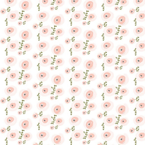 Pale Watercolor Floral - SMALL VERSION -  Blush, Peach, Grey, Olive Floral
