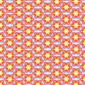 Bright Orange & Lavender Floral Pattern