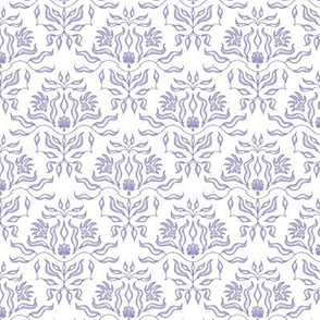 Seaweed Damask- White/Lavender