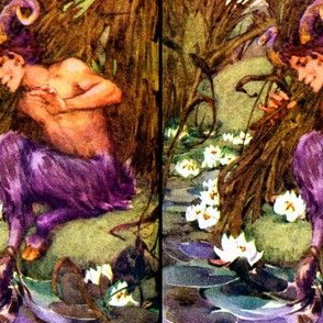 fantasy myths mythical folk fairy tales satyrs lakes ponds cattails lotus lily lilies rivers music piper flute musician vintage retro kitsch