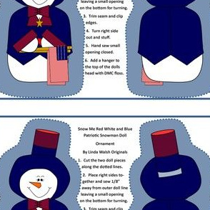 Snow Me Red White and Blue Snowman Cut and Sew Ornament